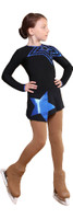 IceDress Figure Skating Dress - Thermal - Constellation (Black with Cornflower Blue)