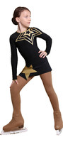 IceDress Figure Skating Dress - Thermal - Constellation (Black with Gold)