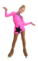 IceDress Figure Skating Dress - Thermal - Constellation (Hot Pink with Black)