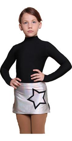 IceDress - Figure Skating Skirts - Neon Sky (Silver with Black)