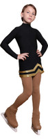 IceDress - Figure Skating Skirts - Line (Black with Gold)