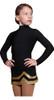 IceDress - Figure Skating Skirts - Line (Black with Gold)