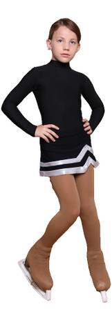 IceDress - Figure Skating Skirts - Line (Black with Silver)
