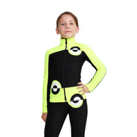 IceDress Figure Skating Jacket - Thermal - Bubble Gum (Black, Fluorescent  Lime)