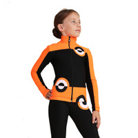 IceDress Figure Skating Pants - Thermal - Bubble Gum (Black, Fluorescent Orange)