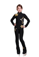 IceDress Figure Skating Pants - Thermal - Star Sky  (Black with Gold)