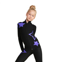 IceDress Figure Skating Pants - Thermal - Star Sky  (Black with Purple)