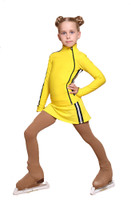 IceDress Figure Skating Outfit with Skirt - Thermal - Olympus (Yellow with Black lamps)