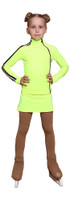 IceDress Figure Skating Outfit with Skirt - Thermal - Olympus (Lime with Black lamps)