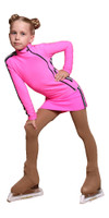 IceDress Figure Skating Outfit with Skirt - Thermal - Olympus (Hot Pink with Black lamps)