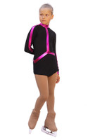IceDress Figure Skating Outfit - Thermal - Arabesque 2 (Black with Fuchsia lycra)