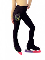 "IceDress Figure Skating Thermal Pants - ""Butterfly"" with colored applique (Black)"