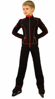 IceDress Figure Skating Pants - Todes for Boys(Black with Red Line)