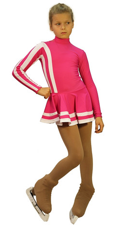 IceDress Figure Skating Outfit - Thermal - Star (Fuchsia and White)