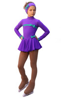 IceDress Figure Skating Outfit - Thermal - Bows (Purple and Mint)