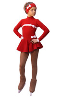 IceDress Figure Skating Outfit - Thermal - Bows (Red and White)