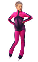 IceDress Figure Skating Outfit - Thermal - Jump (Fuchsia with Gray-Blue stripes)