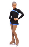 IceDress Figure Skating Dress-Thermal -  Lasso(Black with Blue)
