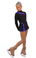 IceDress Figure Skating Dress-Thermal -  Lasso(Black with Cornflower)