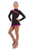 IceDress Figure Skating Dress-Thermal -  Lasso(Black with Fuchsia)