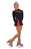 IceDress Figure Skating Dress-Thermal -  Lasso(Black with Raspberry)