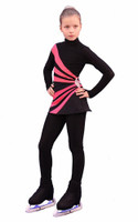 IceDress Figure Skating Dress-Thermal -  Oriental 3  (Black and Coral)