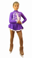 IceDress Figure Skating Dress-Thermal -  Snowflake (25% OFF, Purple and White)