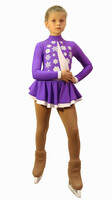 IceDress Figure Skating Dress-Thermal -  Snowflake (40% OFF, Purple and White)