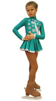 IceDress Figure Skating Dress-Thermal -  Snowflake (Mint and White)