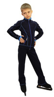 IceDress Figure Skating Outfit - Thermal - Todes for Boys (Dark Blue with Blue Line)