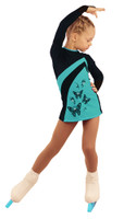 IceDress Figure Skating Dress - Thermal - Velvet (Black with Mint, Butterfly)