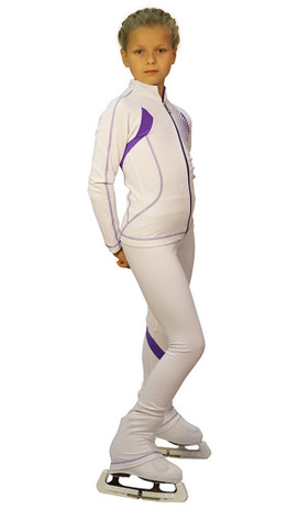 IceDress Figure Skating Jacket -Euler (White and Purple)