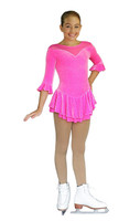 "ChloeNoel DLV20 3/4"" Sleeve Sparkle Velvet Dress (Circle Folly Pink, Adult Small)"