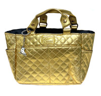 Kami-So Ice Skating Rink Tote (Gold) with White Crystal Skate Key Chain