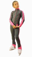 IceDress Figure Skating Outfit - Thermal -Bracket (Grey with Pink Line)