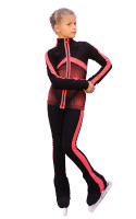 IceDress Figure Skating pants - Jump (Black with Coral stripes)