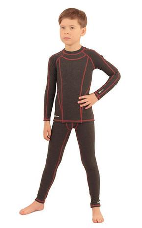 IceDress -  Figure Skating Thermal Underwear for Boys (Dark Grey melange with Red stitching)