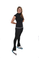 Savvy Skater Ice Skating Short Sleeve Mock Turtleneck w/Cutout Adult Small only