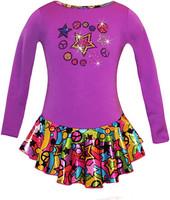"Purple""Peace & Stars"" Ice Skating Dress with ""Peace & Stars"" rhinestone applique (20% OFF, Size CS)"