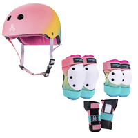 Triple Eight Roller Skating Combo Set -  Pads & Helmet (Shaved Ice)
