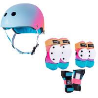 Triple Eight Roller Skating Combo Set -  Pads & Helmet (Sunset)