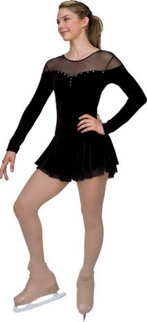 ChloeNoel DLV04 Velvet Double Layer Mesh Skirt Dress (Black)