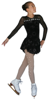 ChloeNoel DLV603 Sparkle Black - Long Sleeve Velvet Dress with Mesh