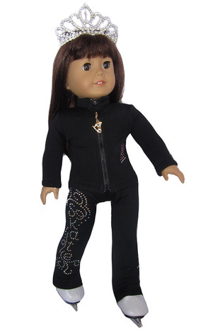 "18"" Doll Ice Skating Outfit (black)"