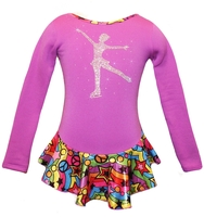 """Purple """"Peace & Stars"""" Ice Skating Dress with """"Skating Girl"""" applique 2nd view"""