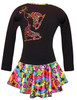 "Black ""Peace & Stars"" Ice Skating Dress with Rainbow mix ""Pair of Skates"" rhinestone applique 2nd view"