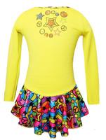 "Yellow ""Peace & Stars"" Ice Skating Dress with ""Peace & Stars"" rhinestone applique"