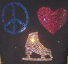 "Black ice Skating Jacket with ""Peace Love Skate"" rhinestone applique 2nd view"