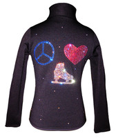 "Black ice Skating Jacket with ""Peace Love Skate"" rhinestone applique"