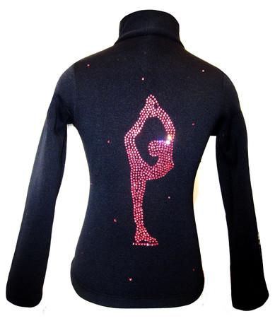 "Black ice Skating Jacket with Pink Crystals ""Bielmann"" rhinestone applique"